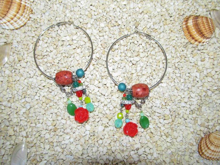 Handmade earrings (1 pair)  Made with antiallergic earring hoops, gemstones, glass beads, plastic flowers and metal with transparent crystals.