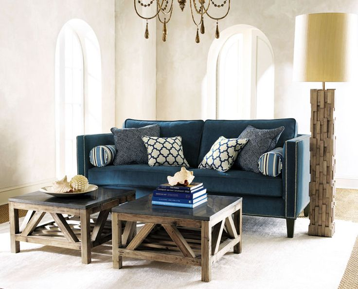 Blue Sofa Double Coffee Tables Home Decor amp Design