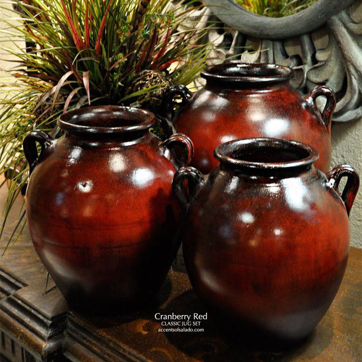 Mediterranean Kitchen Kirkland: Classic Tuscan Vases In Cranberry Red