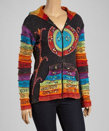 This Black & Rainbow Stripe Embroidered Hoodie - Plus by Rising International is perfect! #zulilyfinds