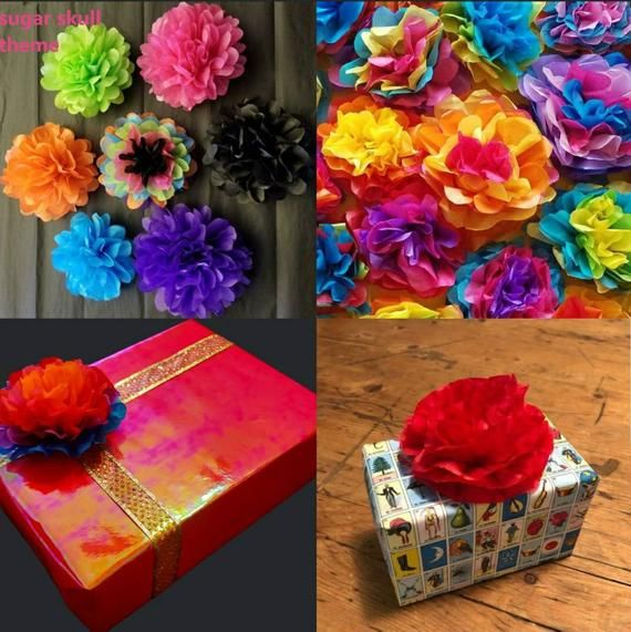 30 Mini Tissue Papers Flowers Fiesta Flowers Tissue Paper Flowers