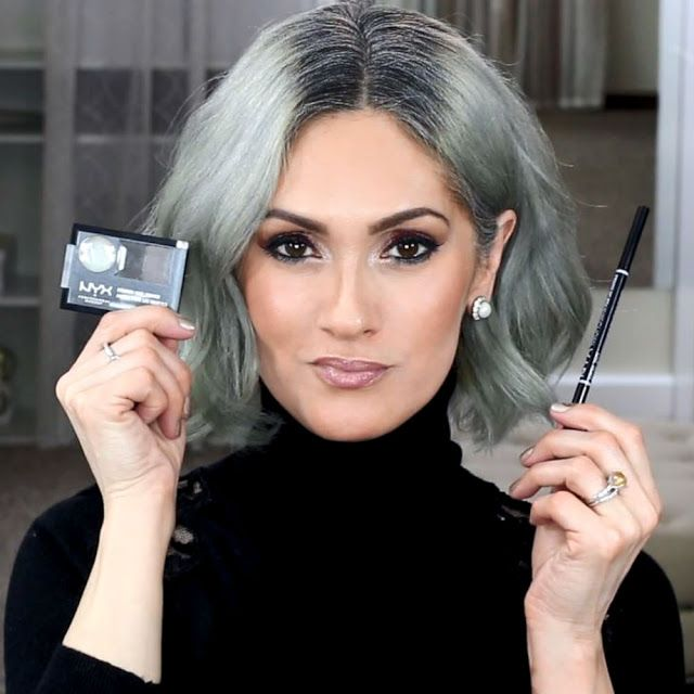 Beauty101byLisa: HOW TO FIND YOUR PERFECT EYEBROW SHADE | 15 Swatches. Silver Hair, Gray Hair Transition.