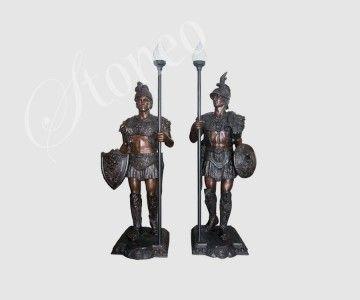 Greccy wojownicy - świeczniki z brązu