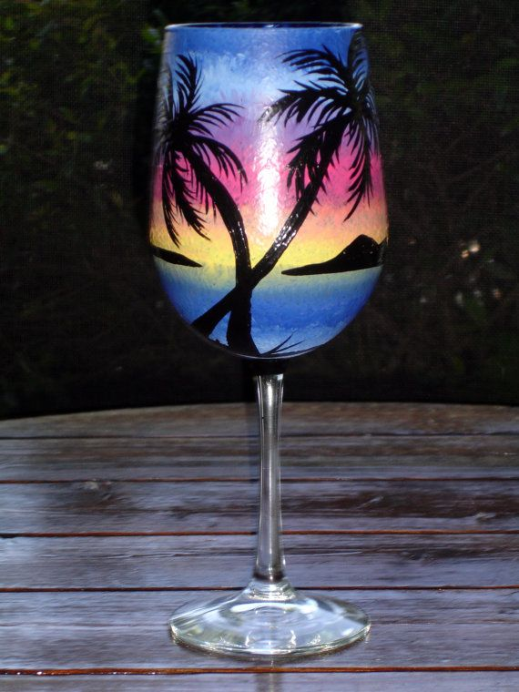 Tropical wine glass by somanysigns on Etsy