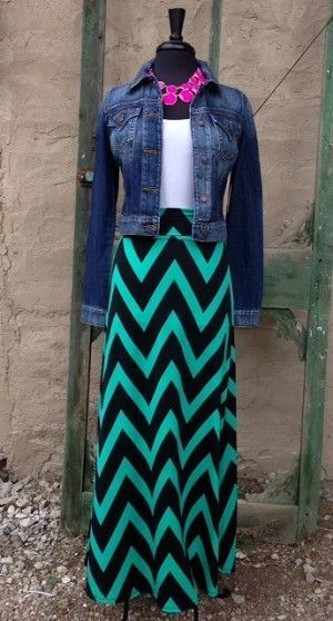Mint and Black Chevron Maxi Skirt With Jeans Jacket Shop Shabby Shack Vintage Denim in Courtyard Antiques (formerly known as Front Porch Antiques Mall) in the Mason Antiques District. Open 7 Days, 10 A.M. – 6 P.M. (517) 676-6388 Vintage Denim for Women & Children.