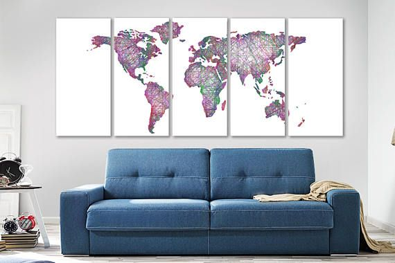 Canvas painting Linear map Wall Art decor Poster