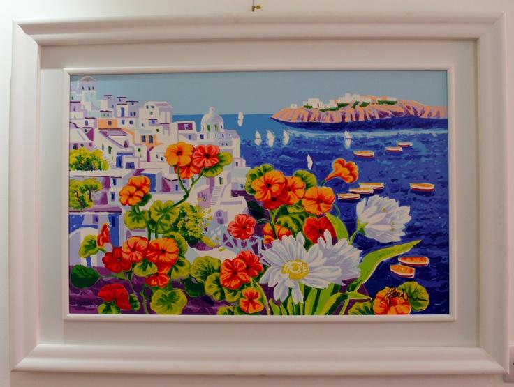 """Athos Faccincani """"Colore arancio nella luce di Santorini"""" 84x54"""