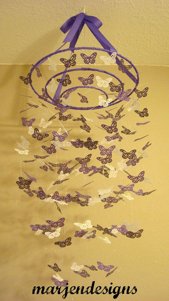 purple paper monarch butterfly mobile,baby girl mobile,baby boy mobile, crib mobile, nursery decor, dorm room, birthday present, unique gift on Etsy, $55.00