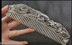 Collectibles-Handwork-Miao-Silver-Carving-Dragon-Phoenix-Wonderful-Comb
