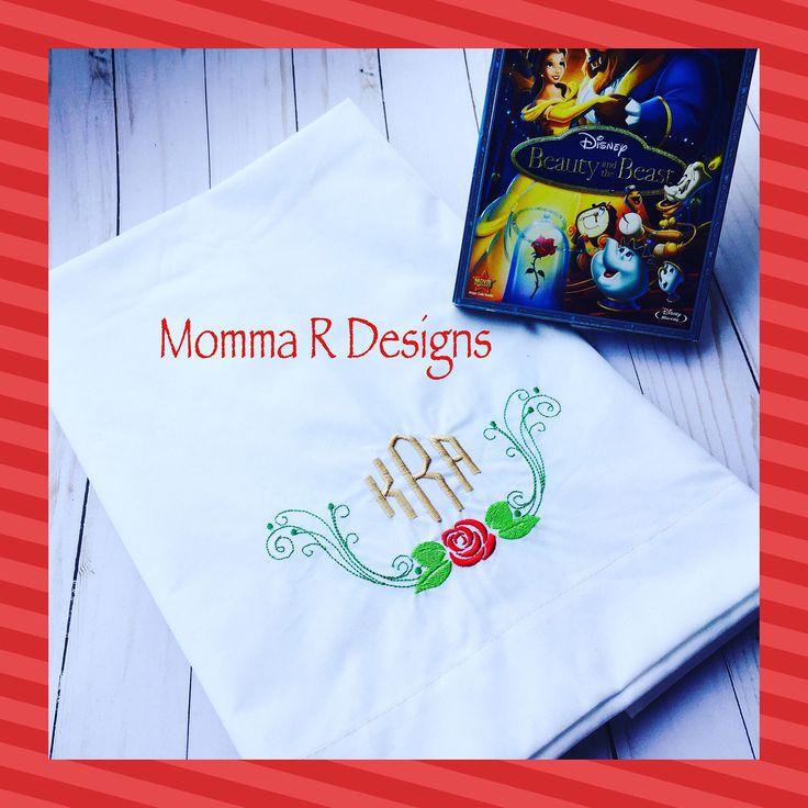 Rose pillowcases, machine embroidery on pillow case, personalized pillowcase set, monogram pillowcase by MRDesignsStudio on Etsy https://www.etsy.com/au/listing/522660553/rose-pillowcases-machine-embroidery-on