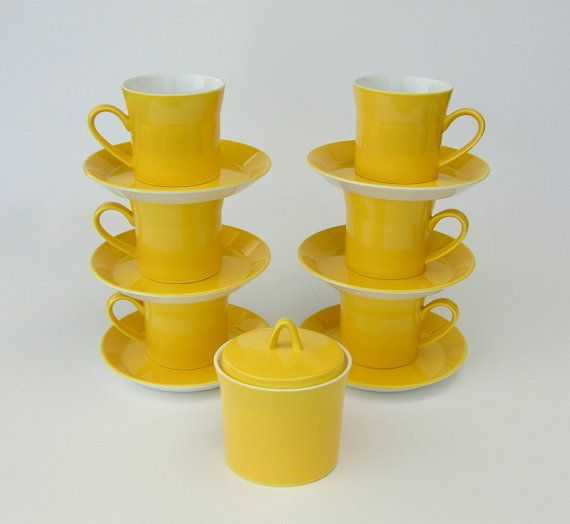 Mod Yellow Coffee Cups & Saucers, Sugar Bowl: New Zealand's Crown Lynn Forma