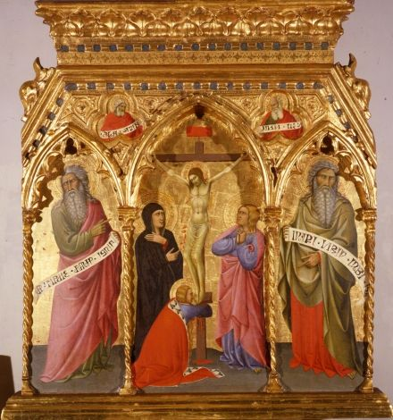 Andrea Vanni Crucifixion with Mourners and Saint Mary Magdalene; sides: Two Prophets; in the trefoils above: Two Prophets, in half-bust C 1396 Inv. 114 tempera on board, 105 x 90 cm Siena, Pinacoteca Nazionale