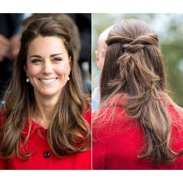 kate middleton 39 s half up hairstyle how to get the duchess 39 easy look liked on polyvore. Black Bedroom Furniture Sets. Home Design Ideas