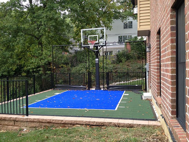 11 best backyard basketball images on pinterest backyard for Small basketball court