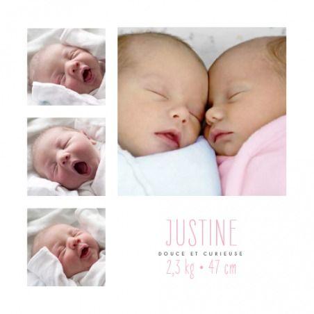Faire-part de naissance Jumeaux 8 photos | Faire-part de