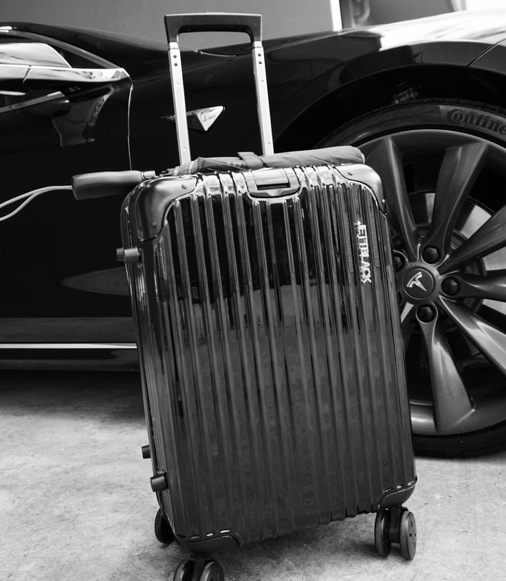 Take it for a spin! Boss Black Carry On Suitcase by Jett Black. #Jetsetter #AirportStyle #BlackAndWhite