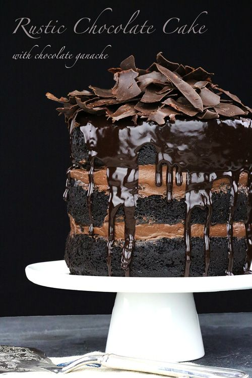 Rustic Chocolate Cake with Chocolate Ganache #chocolate #cakes #desserts