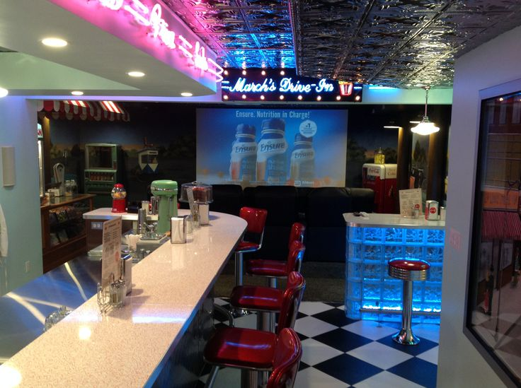 50s diner and 50s style drivein theater room in a
