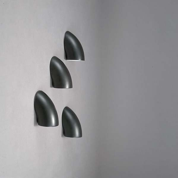 Elio Martinelli; Painted Metal 'Gomito' Wall Lights for Martinelli Luce, 1967.