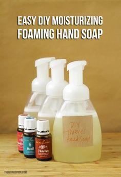 Ingredients 1 (8-ounce) foaming hand soap dispenser 2 ounces of unscented liquid castile soap 1 tablespoon of vegetable glycerin 1 tablespoon of fractionated coconut oil 10-20 drops of essential oil per bottle Purified water