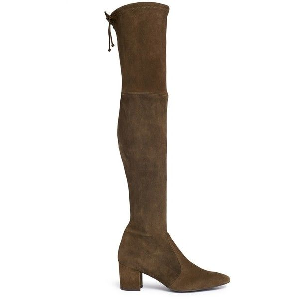 Stuart Weitzman 'Thigh Land' stretch suede thigh high boots ($800) ❤ liked on Polyvore featuring shoes, boots, brown, thigh boots, stuart weitzman boots, brown over-the-knee boots, suede thigh-high boots and stretch suede boots