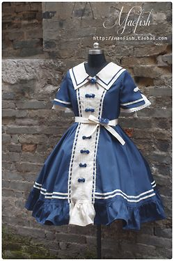 Qi Lolita Sailor OP in Blue~ Maofish