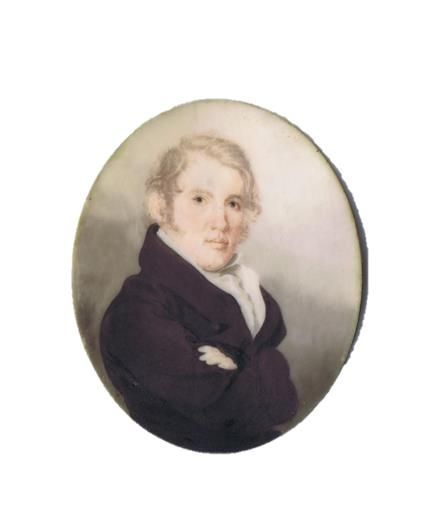 David Rozel Poignand (1793-1883) miniature, John Rutherford, watercolor on ivory, ca. 1820, Louisville.