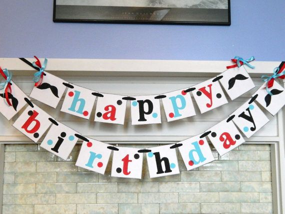 Mustache Birthday Party Banner-Moustache Party Decorations- Unisex Birthday Garland- Adult or Kids Birthday Banner- You Pick the Colors on Etsy, $34.00