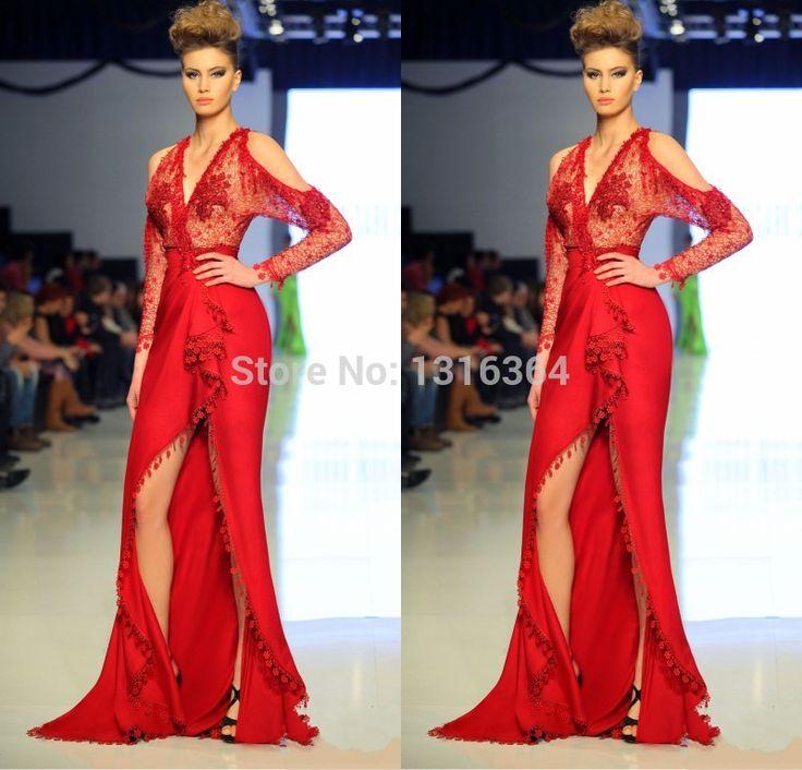 Сексуальные красные русалка вечерние платья! Сексуальный глубокий v-образным вырезом длинные рукава платье изысканный сексуальные боковыми разрезами русалка вечерние платья