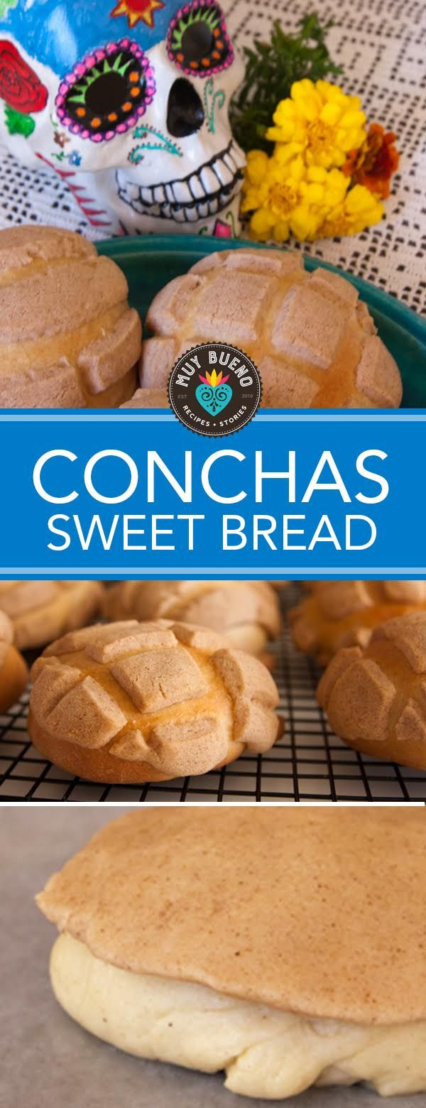 """Conchas. Conchas (shells) are a Mexican pastry that is famous for its shape of a shell. The pastry contains a sugar shell pattern on the top. This is one of the most famous Mexican pastries recognized in the United States. It is also referred to as """"pan de huevo"""". Accompany this Mexican sweet bread with a hot cup of coffee or champurrado and the first warm bite will melt in your mouth. Conchas have a sweet hardened crust, and the inside is thick, soft, and fluffy."""