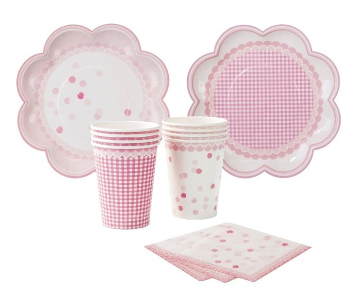 Polka Dot Party Pack | Princess Party | Pink Gingham Party Cups and Plates