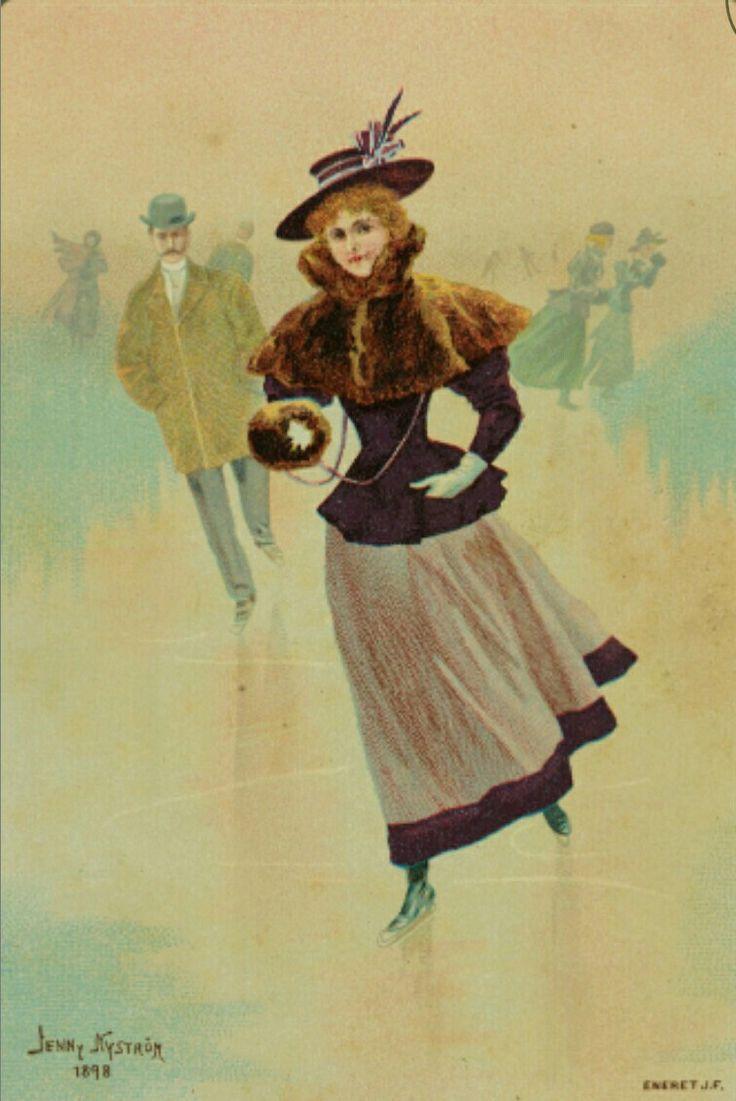Julekort. Jule-og nyttårshilsen. Nyttårskort. Damer og herrer på skøyter. Kunstner Jenny Nystrøm 1898. Eneret J. F. Nyttår 1902.