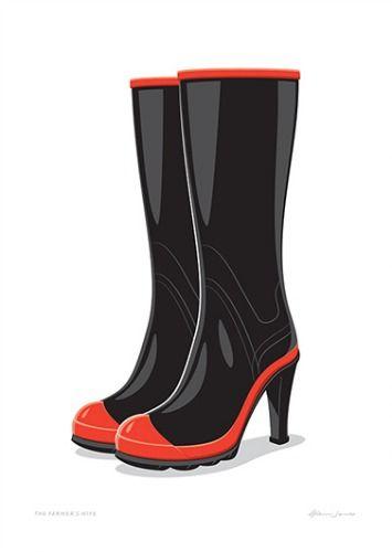 The Farmer's Wife. High heel gumboots! New print by Glenn Jones at prints.co.nz