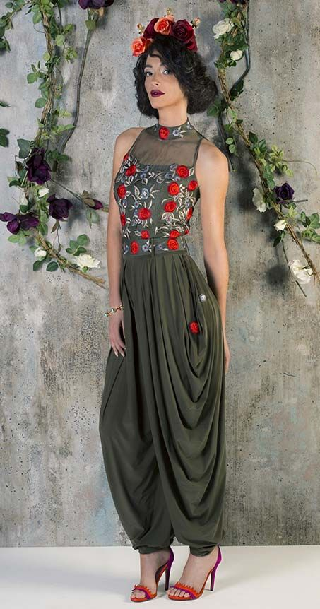 Asian Bridal Wear, Military green jumpsuit |
