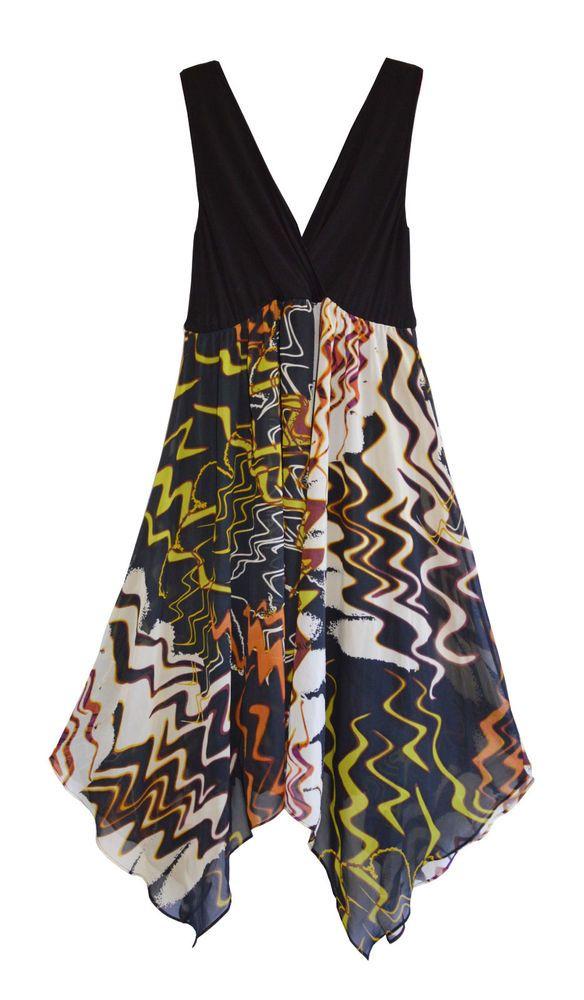 Free Postage (Size XL) Suzanne Grae Chiffon Hanky Hem Dress ZigZag Pattern