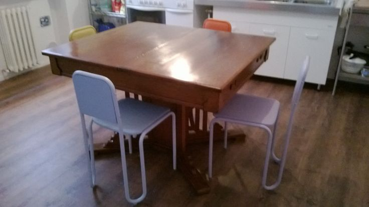 my great-grandparents's liberty table and my mother's 80's chairs laquered and coeted by faux leather