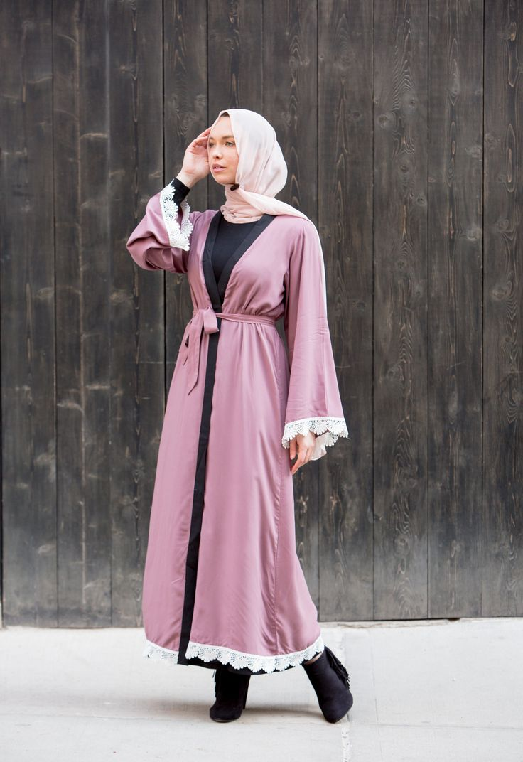"""Pre-Order X-Small, Small, & Medium Now for End of November Shipment Sold out in days twice - Kimono Sleeves - Dusty Pink - Belt Included - Model is 5'10"""" wearing size S - Open Front - Lace details on"""