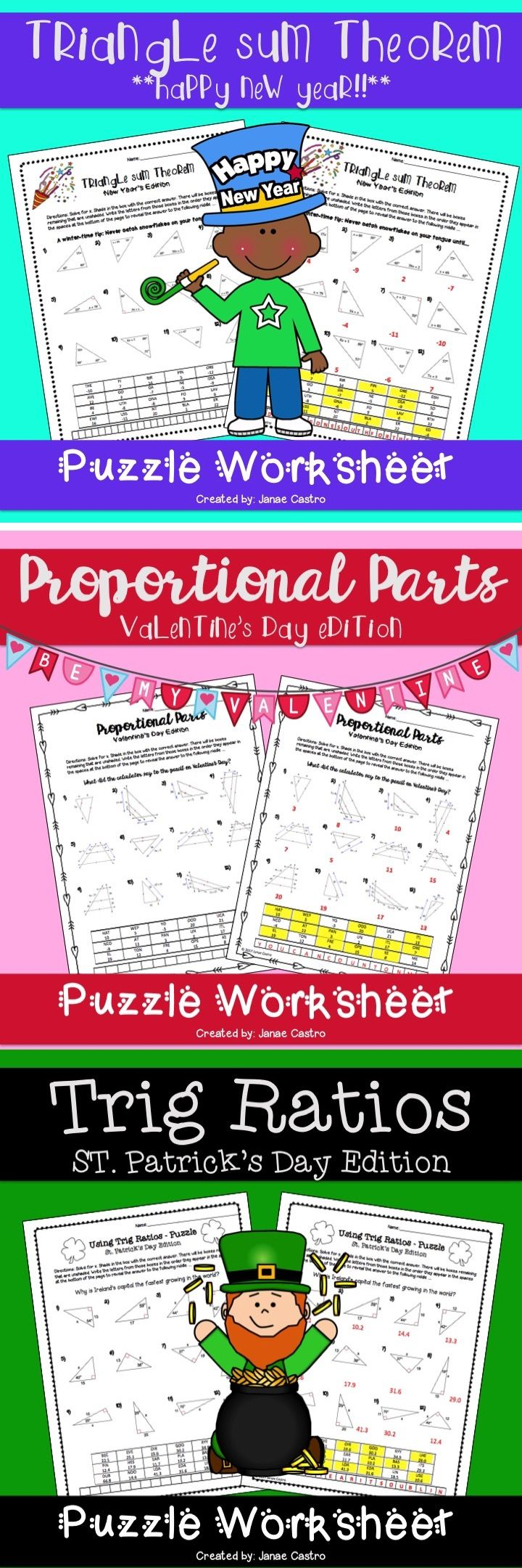 Geometry Holiday Puzzles. Geometry Christmas, Geometry Valentine's Day. Geometry New Year, Geometry St. Patricks, Geometry Thanksgiving