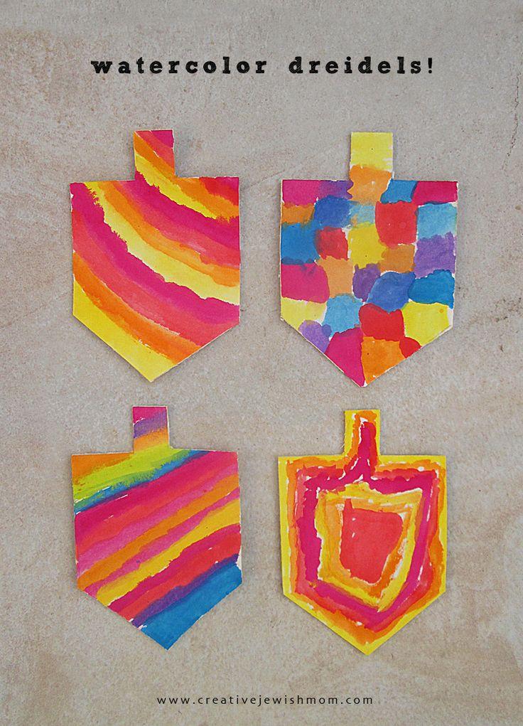 Hanukkah kids craft watercolor dreidels
