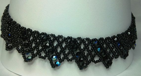 FREE SHIPPING Black folk necklace collar necklace by Mamyblue, $40.00