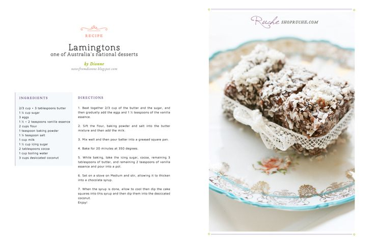 Lamingtons: one of Australia's National Desserts! (recipe). I love how they styled this dish.Australia National, Australian Desserthmmm, Parties, Cup Of Tea, Australian Desserts Hmmm, Lamingtons Desserts, Cups Of Teas, Australian Vacations, National Desserts