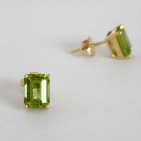 Vintage Tiffany Peridot Earrings, Emerald Cut Peridot Earrings
