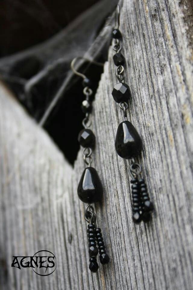 Black & Black. Gothic earrings. Czech glass beads.