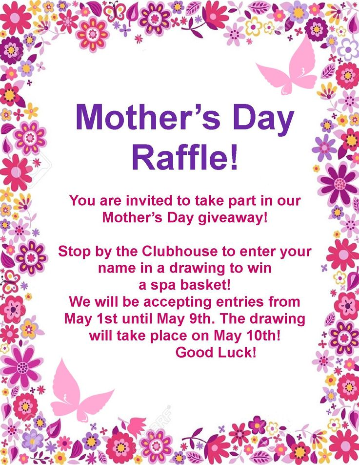 One Of Our Resident Events To Celebrate Mother S Day We Will Be Giving Away A