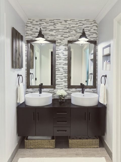 beautiful master bath reno, and the vanity was a deal on Ebay: Glasses Tile, Small Bathroom, Double Sink, Sinks, Master Bathrooms, Bathroom Ideas, Master Baths, Small Spaces, Jenna Sue