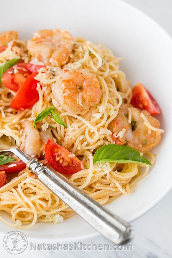 Spaghetti with Shrimp in a creamy tomato sauce. Excellent 30-minute meal! @natashaskitchen