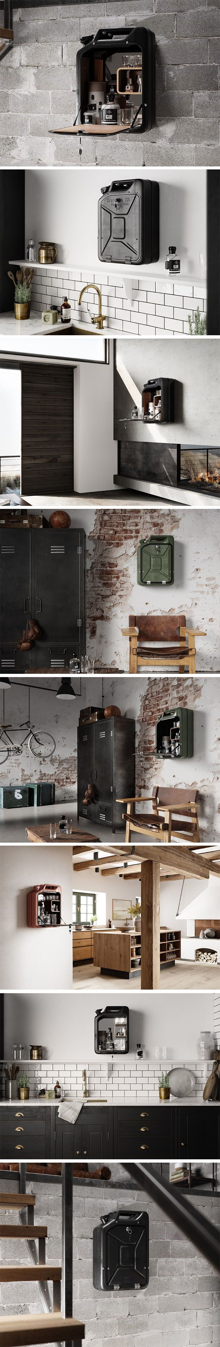 The Danish Fuel Tank Bar Cabinet uses Jerry Cans from World War II and turns them into outwardly quirky, but inwardly lavish mini-bars. The old jerry cans are first sand-blasted to remove the old coat of paint and whatever rust it may have collected from the past 70 years. The door is then laser-cut out of the can with a sheer precision that allows it to open and shut perfectly. The cans are then powder-coated and baked with a new layer of rust-resistive paint.