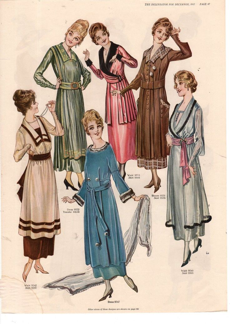 1917 Delineator Print More Winter Coats Hats and House Dresses Color Images | eBay