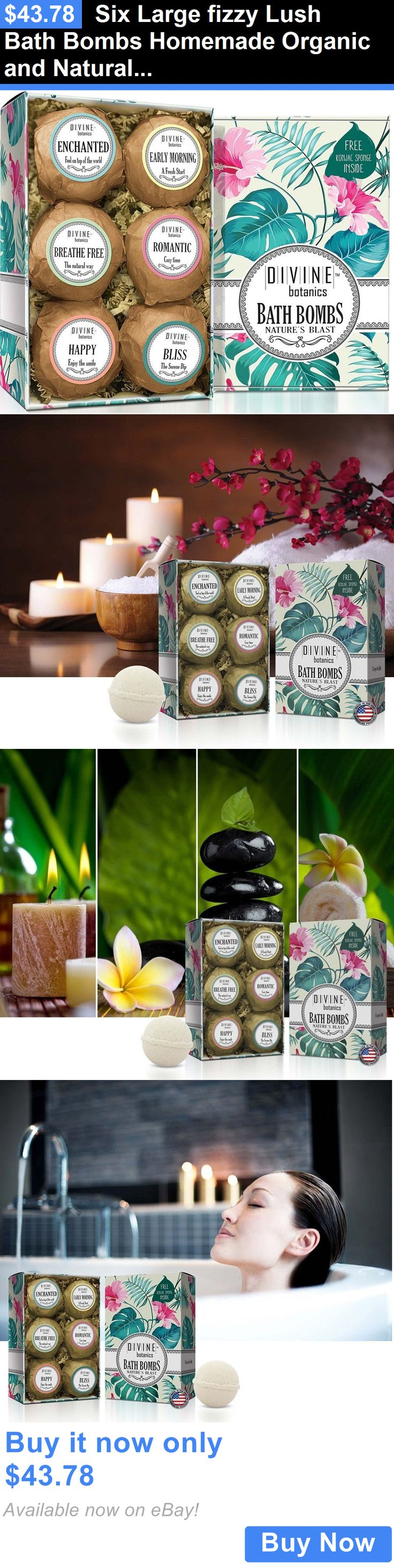 Bath Bombs and Fizzies: Six Large Fizzy Lush Bath Bombs Homemade Organic And Natural + Konjac Sponge BUY IT NOW ONLY: $43.78