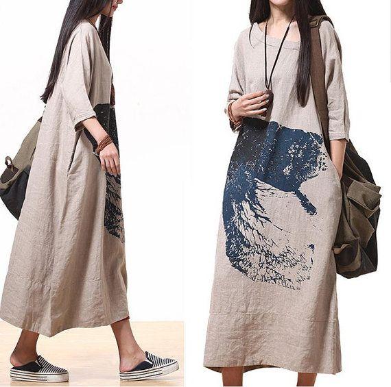 Comfort Linen Maxi Dress / Unique Summer Ma qualities  by dreamyil